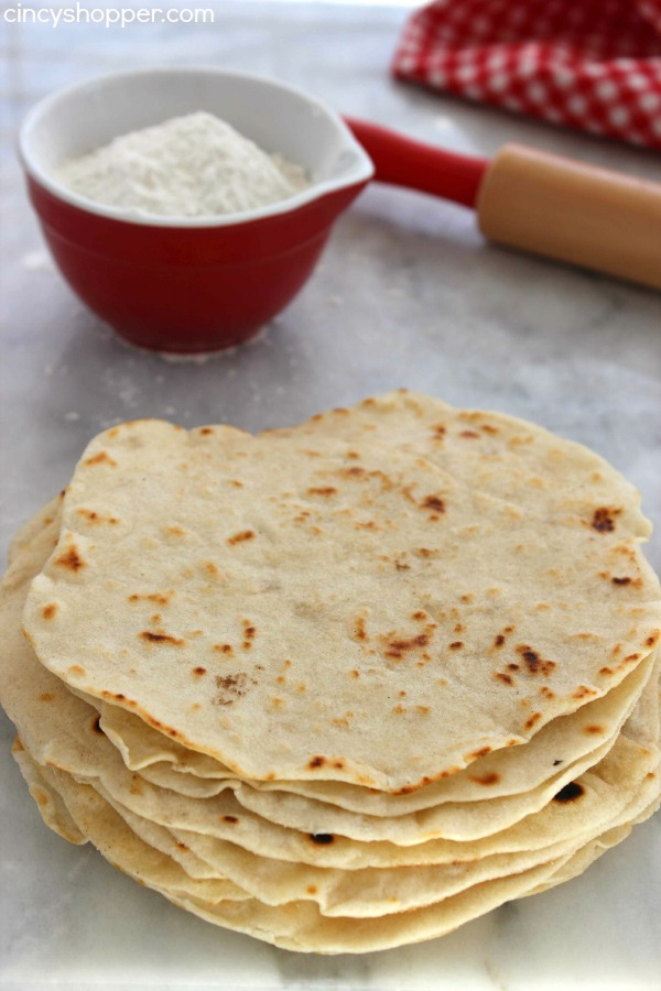 Homemade Flour Tortillas Easy and Super Inexpensive. Require just a few ingredients from your pantry. Great for taco night, breakfast tacos and after school snacks.