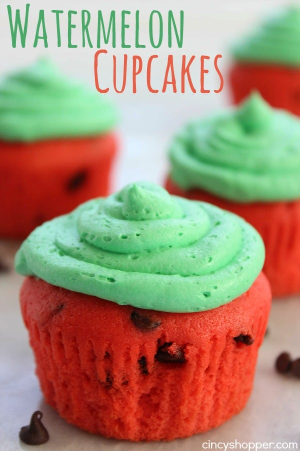 Watermelon Cupcakes- a quick, easy and fun summer dessert for your summer bbq's.