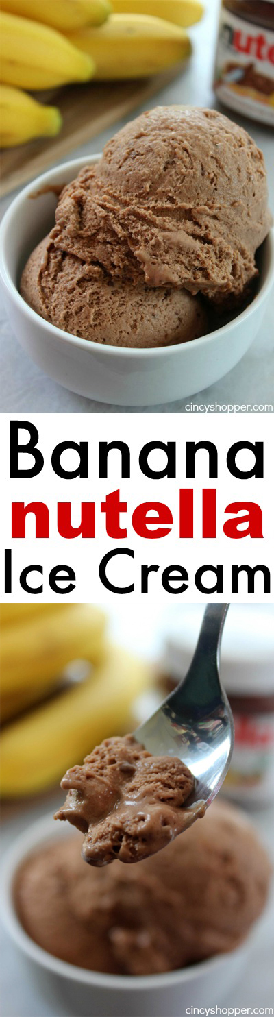 2 Ingredient Banana Nutella Ice Cream- Super simple cold treat for summer. Rich, smooth and delish.