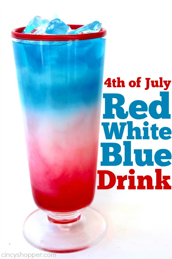 4th of July Red White Blue Drink - will make for a fun holiday beverage. With three simple ingredients you can make these super tasty and patriotic drinks.