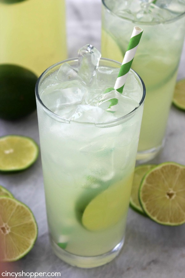 Homemade Limeade- sure to keep you cool and refreshed this summer. The perfect cold, sweet and tangy beverage to enjoy on a hot day.