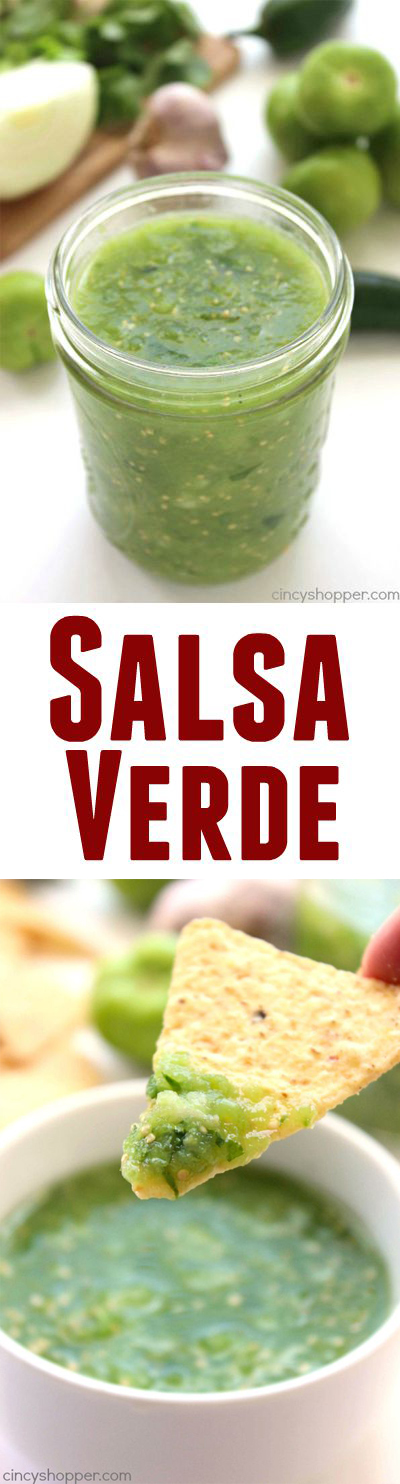 Easy Salsa Verde -pairs well with tacos, chips, or even with your meats in Mexican inspired meals.