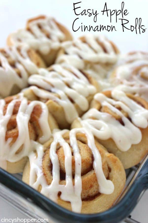 Easy Apple Cinnamon Rolls with Cream Cheese Icing- Since we use store bought crescent sheets, they come together quite quickly. Perfect fall breakfast or dessert.
