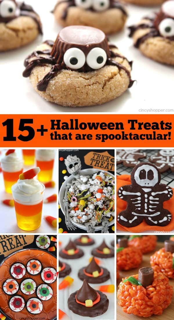 15+ Halloween Treats that are Spooktacular! Simple treat and snack ideas. Perfect for Halloween parties.