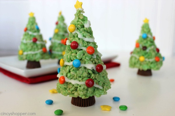 Krispie Treat Christmas Trees - make for a cute classroom, office, or holiday party treat.