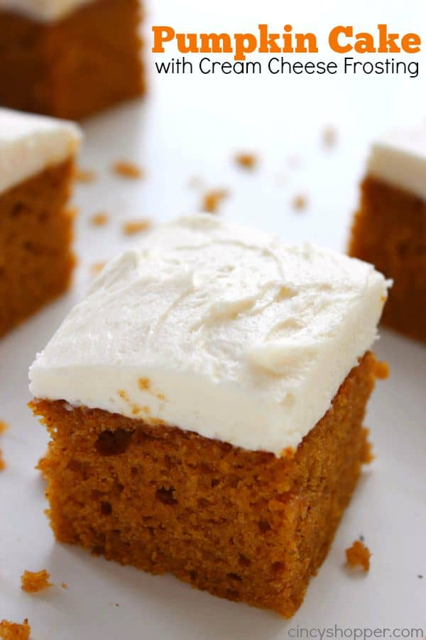 Pumpkin Cake with Cream Cheese Frosting - This super moist cake is so easy to whip up for Thanksgiving or a holiday party.