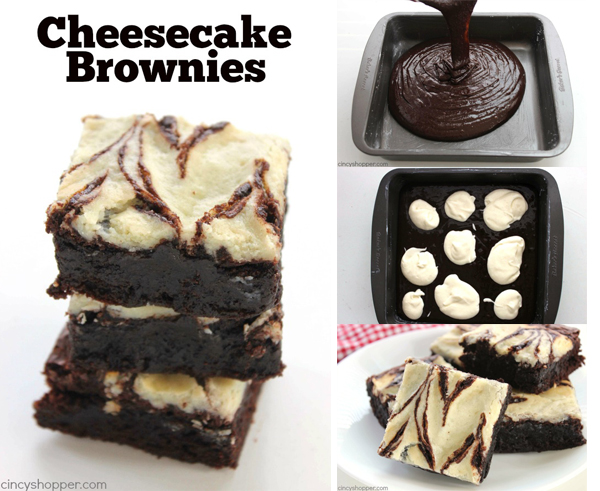 Easy Cheesecake Brownies - Fudge brownies with yummy cheesecake swirls. Super quick dessert idea.