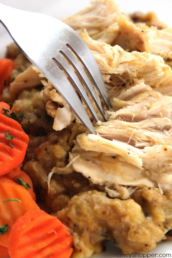 Easy Slow Cooker Chicken and Stuffing - Just a couple chicken breasts and some Stove Top stuffing in the Crock-Pot and we have a comfort meal that is so super easy.