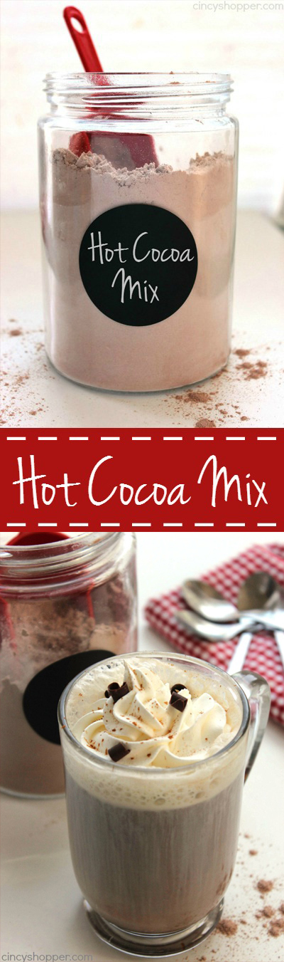 Hot Cocoa Mix - just a few ingredients. No need to purchase store bought envelopes. Perfect for keeping on hand during cold weather