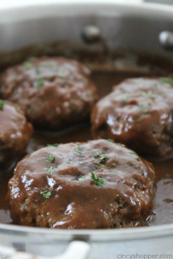 Salisbury Steaks with gravy in a pan