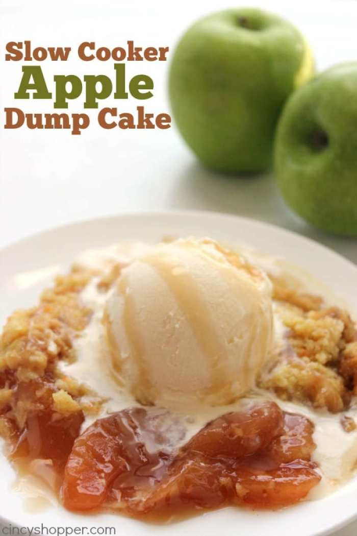 Slow Cooker Caramel Apple Dump Cake -Just four simple ingredients and your Crock-Pot for this super tasty dessert.