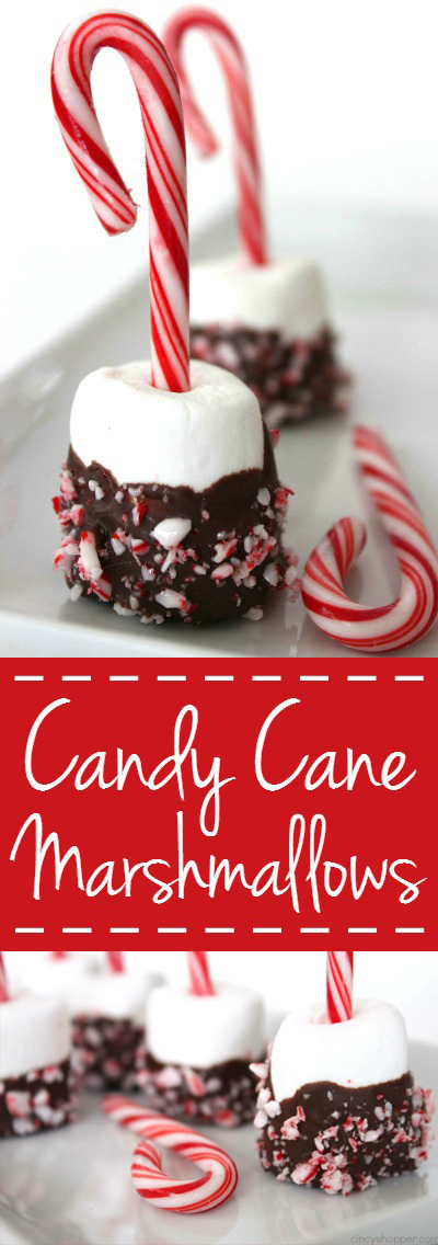 Chocolate Dipped Candy Cane Marshmallows - Perfect for dipping in hot chocolate or even for gifting at Christmas. Super Simple and Super Cute!