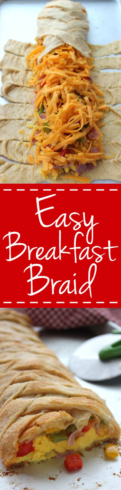 SUPER Easy Breakfast Braid - Loaded them up with your favorite omelette toppings. GREAT for feeding a crowd.