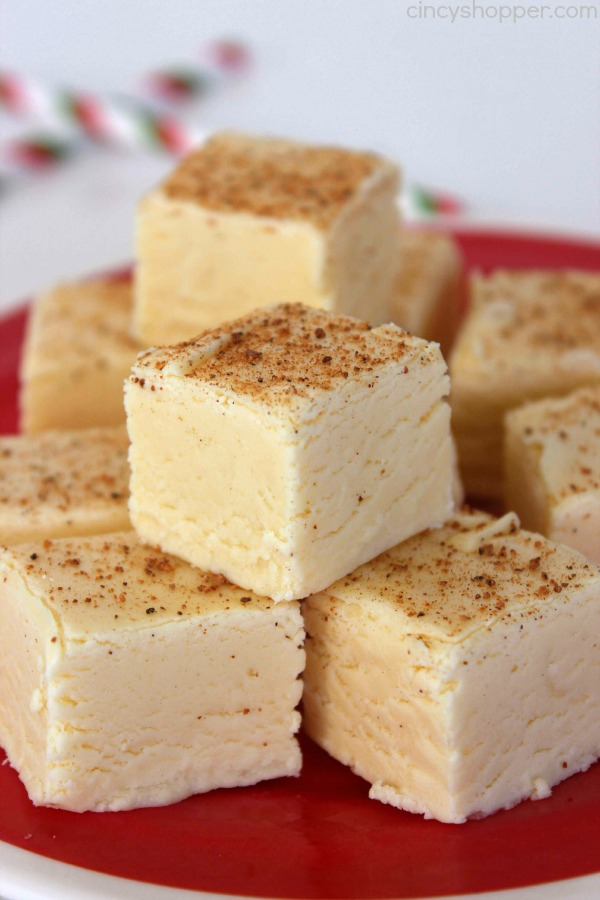 Eggnog Fudge - Easy fudge idea for the holidays. Great for gifting.
