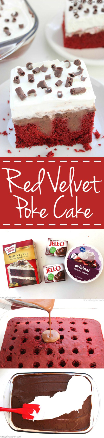 Red Velvet Poke Cake - Super simple dessert idea that tastes AMAZING! Perfect for the holidays.