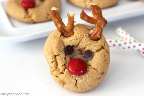 Peanut Butter Rudolph Cookies - Super fun Reindeer Christmas Cookie.