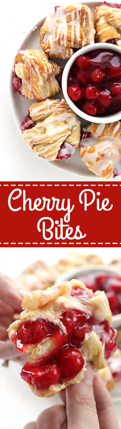 Cherry Pie Bites - made with store bought crescent rolls, they can be made in a jiffy. Perfect for breakfast or even dessert.