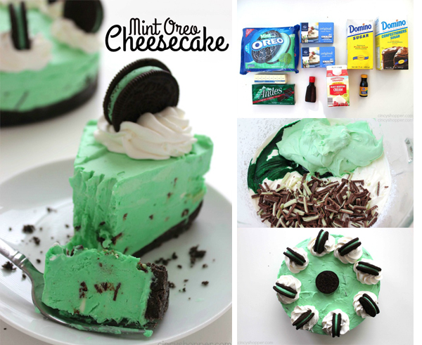 No Bake Mint Oreo Cheesecake - perfect St. Patrick's Day dessert. Mint fans will love the crushed Mint OREO cookie crust, minty cheesecake filling with chopped mint Andes candies.