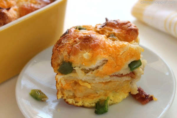 Bacon Egg & Cheese Biscuit Breakfast Casserole - great for feeding a crowd for holidays and brunches.