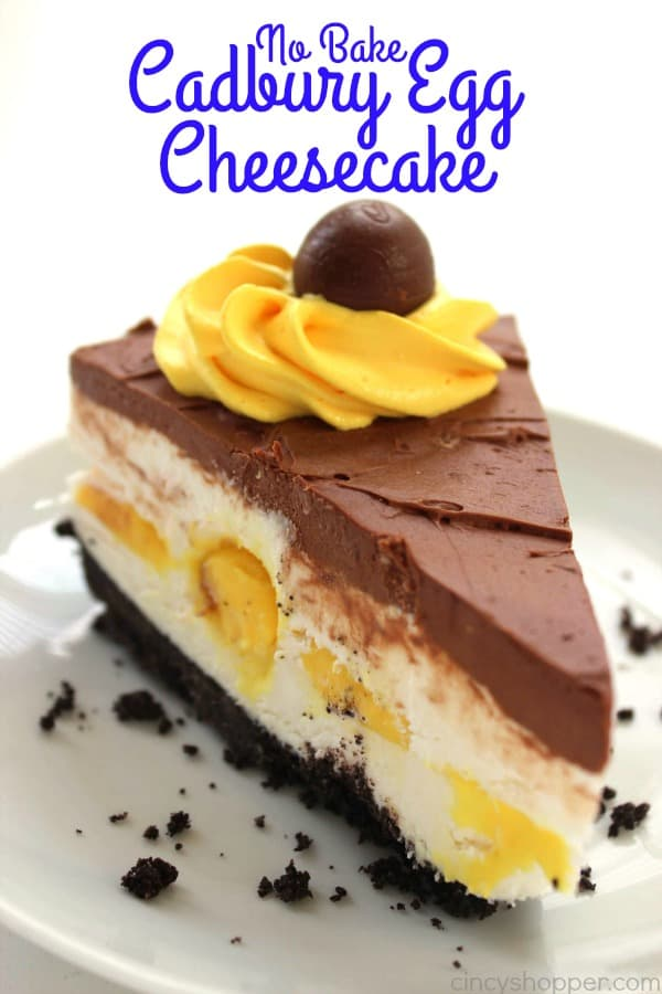 No Bake Cadbury Egg Cheesecake - will be all the talk at Easter dinner. Not only does it look decadent, it tastes amazing. Perfect Easter dessert.