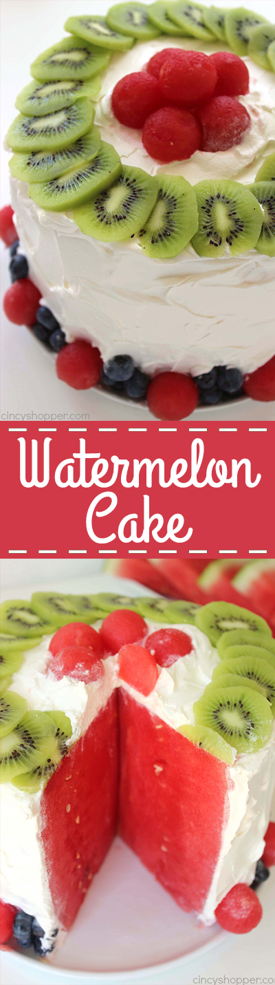 Easy Watermelon Cake - a perfect picnic dessert. With just a watermelon and Cool-Whip you can whip up this tasty summer treat in just a few minutes time.