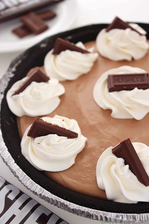 Easy Hershey's Chocolate Pie - easiest pie on the planet. With just three ingredients and a couple minutes of time, you can have yourself one amazing pie made.