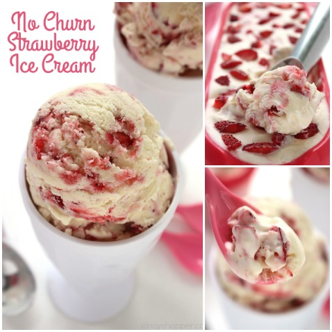 No Churn Strawberry Ice Cream - No ice cream machine is needed. You will find it creamy and loaded with layers of strawberries. Make your own homemade ice cream, it is so much better than store bought.