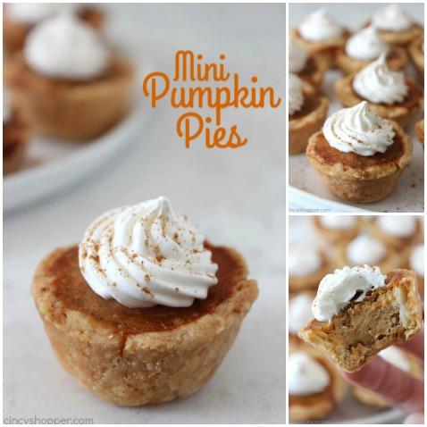Mini Pumpkin Pies - a cute and easy Thanksgiving or Christmas dessert idea.