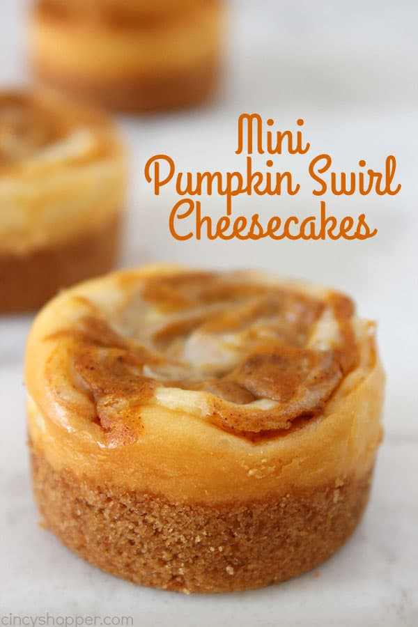 Mini Pumpkin Swirl Cheesecakes will make for a perfect Thanksgiving or fall dessert idea. Plus they are easy to make.