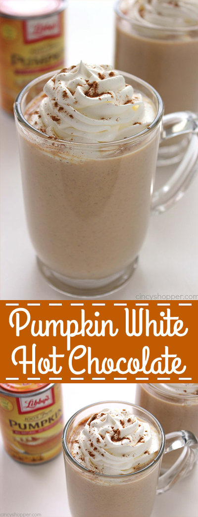 Pumpkin White Hot Chocolate - amazingly smooth and rich drink for the cooler fall months.