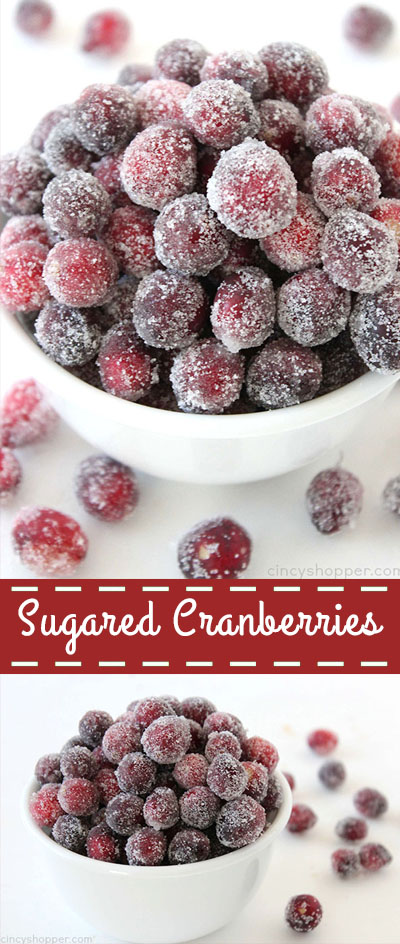 Sugared Cranberries-so super simple, requiring just 2 ingredients. You will find them both tangy and sweet, perfect for snacking or garnishing your holiday treats.