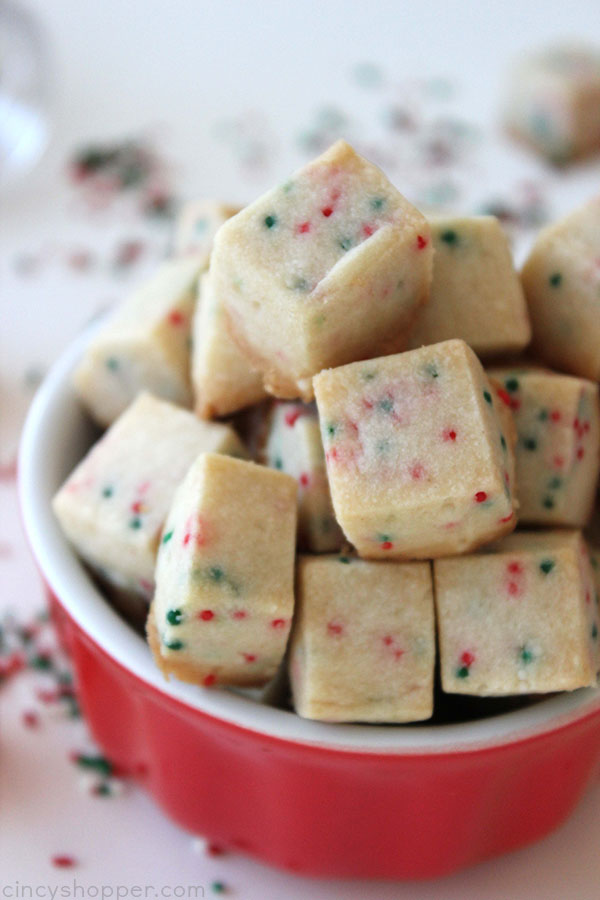 Shortbread Cookie Bites- simple to make and are perfect for Christmas cookie trays and snacking.