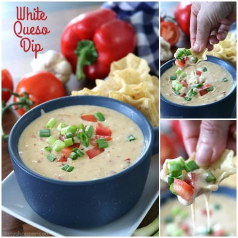 White Queso Dip - so simple to make with white American cheese from the deli. You will find it a bit spicy because we add in some jalapeños and red peppers.