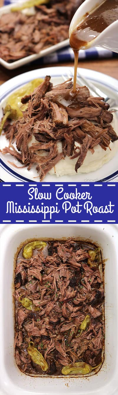 This Slow Cooker Mississippi Pot Roast is super tender and packed with flavor. This has got to be the BEST beef roast EVER! Serve it up with some mashed potatoes and you have a perfect family dinner.