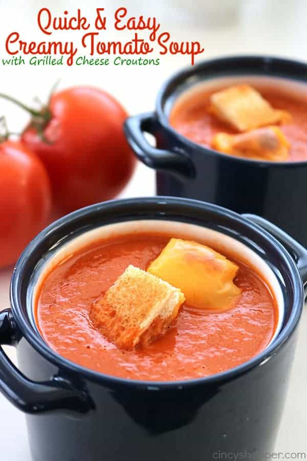 My Quick & Easy Creamy Tomato Soup with Grilled Cheese Croutons will be a perfect lunch or dinner this winter. You can have everything ready and on the table in about 30 minutes time.