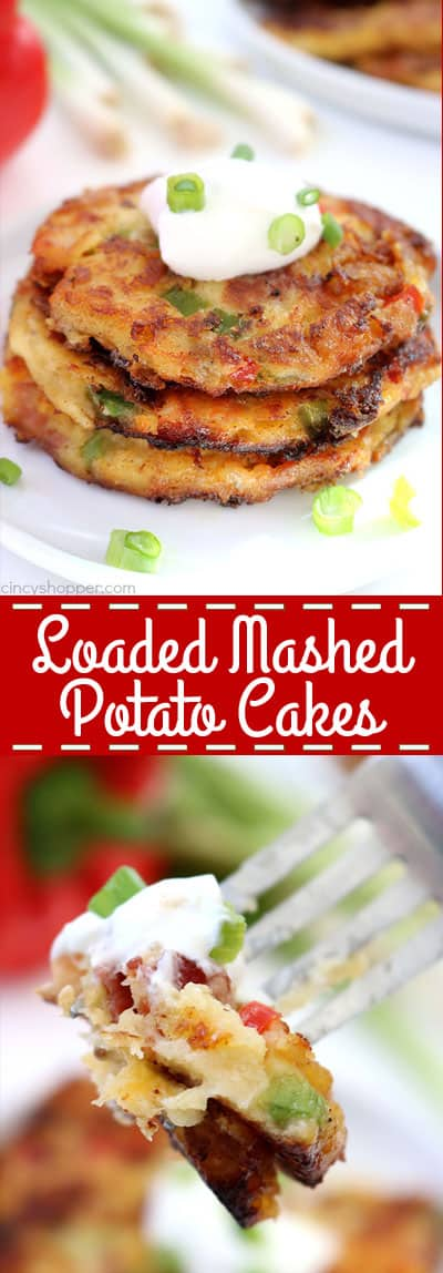 If you have leftover mashed potatoes, you will want to make these Loaded Mashed Potato Cakes. Creamy mashed potatoes are loaded up with bacon, cheese, peppers, onions, and then fried up for some added crispiness.