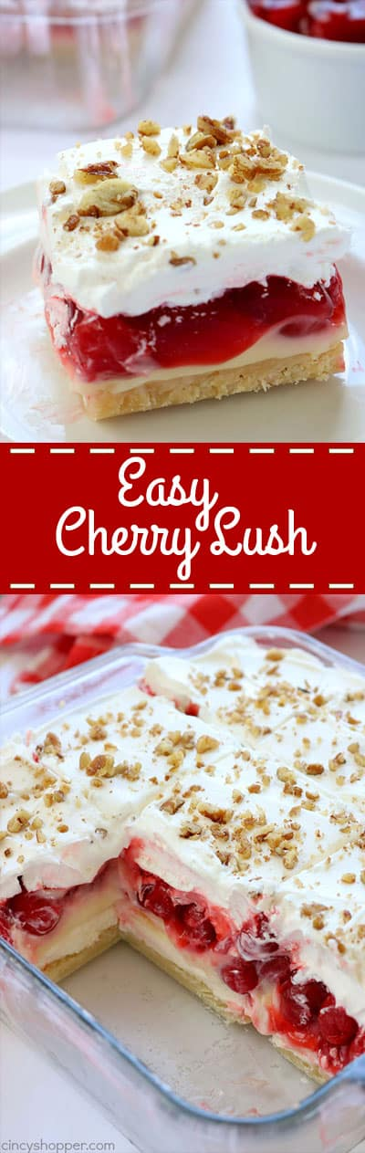 Easy Cherry Cheesecake Lush- a creamy cheesecake layer, then cheesecake pudding, cherry pie filling, and of course, a whipped topping. It's luscious and perfect for summer bbq's and potlucks. #cherrylush #summerdessert