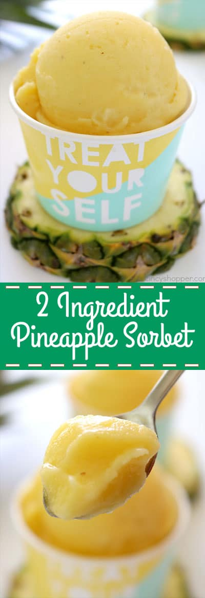 2 Ingredient Pineapple Sorbet - So easy to make. Perfect on a hot summer day! #Pineapple #2Ingredient #Sorbet #SummerTreat #Cold Treat