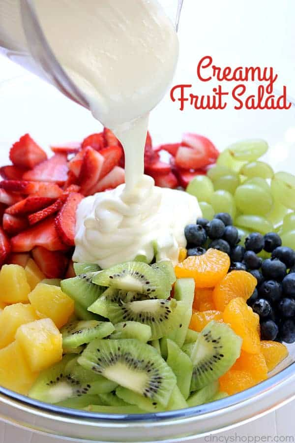 This Creamy Fruit Salad is loaded with tons of fresh fruits and a creamy vanilla yogurt dressing. It is so simple to throw together and perfect for a side dish or dessert. You will find it to be a hit at your next picnic or BBQ!