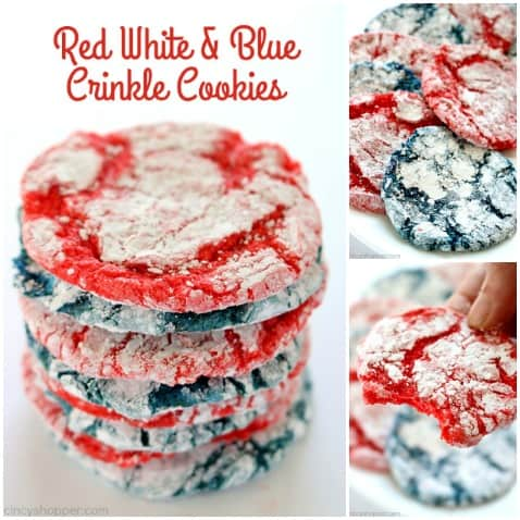 These Red, White, & Blue Crinkle Cookies will be great for your Memorial Day and 4th of July dessert. They are so simple! We make them with a boxed cake mix, Cool-Whip, and a few other ingredients. And... they are super patriotic. #4thJuly #Patriotic #RedWhiteBlue