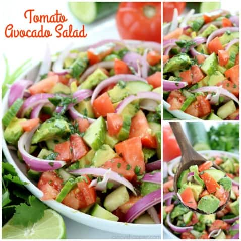 Tomato Avocado Salad with Cilantro Lime Balsamic Dressing - light and full of amazing flavor. Perfect for a summer side dish at your next BBQ or picnic. #SummerSalad #avocado