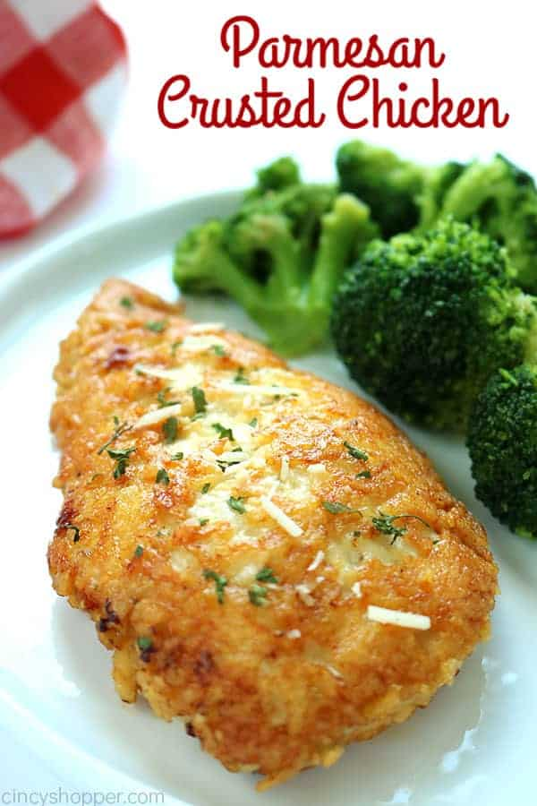 Crusted Parmesan Chicken with text