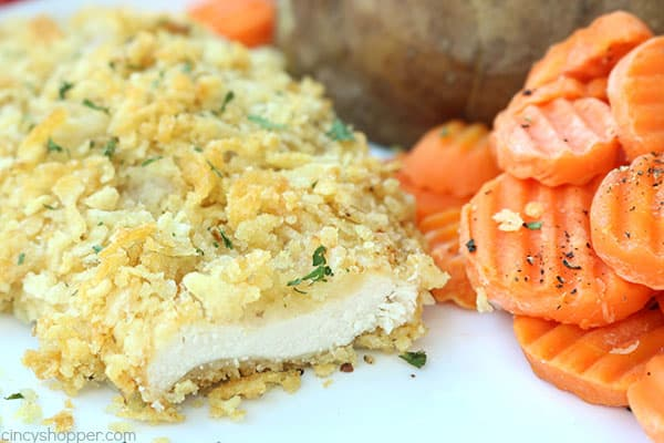 Potato Chip Crusted Chicken - easy weeknight family dinner idea. Make your chicken with any flavored chips to add a super crusty and flavorful chicken breast.