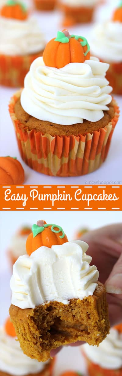 Easy Pumpkin Cupcakes with Cream Cheese Frosting- No need to make them from scratch when you can use a simple cake mix. Great for fall and Thanksgiving dessert.