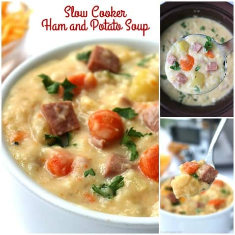 The BEST Slow Cooker Ham and Potato Soup - Perfect amount of potatoes, vegetables, ham and creaminess. It's so simple because you make it right in your Crock Pot!