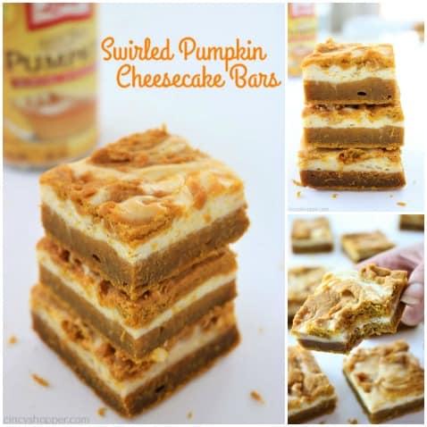 Swirled Pumpkin Cheesecake Bars - better than a pumpkin pie! Tasty pumpkin bar with a deliciousswirled layer of cream cheese. Perfect fall and Thanksgiving dessert.