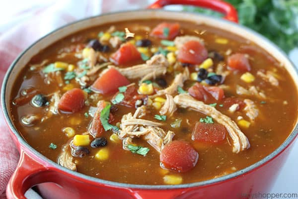 Cooked Chicken Tortilla Soup in a pot.