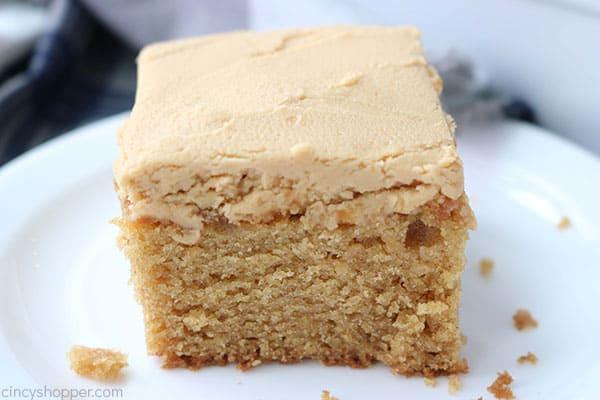 Homemade peanut butter cake on a plate