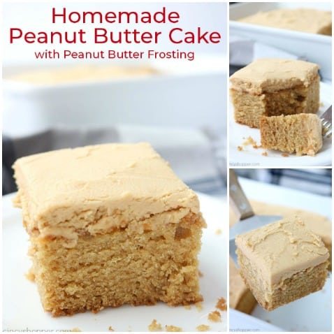 Peanut butter cake collage.