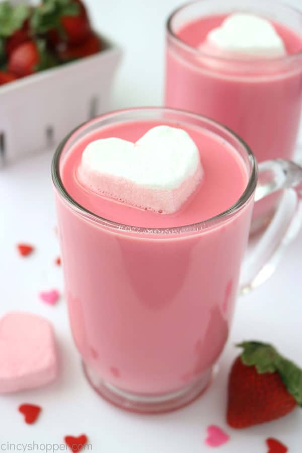 If you are a fan of flavored hot chocolate, you will want to make this super easy Strawberry White Hot Chocolate. We make it with fresh strawberries and white chocolate chips. Great Valentine's Day treat!
